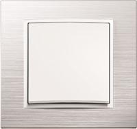 Berker B.7, Рамка: нержавеющая сталь, Вставка: белый матовый