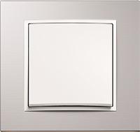 Berker B.7, Рамка: алюминий, Вставка: белый матовый