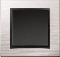 Berker B.7, Рамка: нержавеющая сталь, Вставка: антрацит матовый