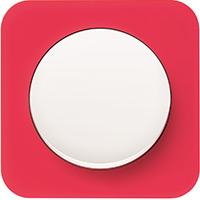 Berker R.1, Рамка: красный. Вставка: полярная белизна. Акрил прозрачный
