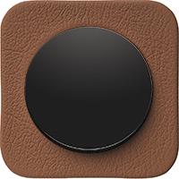 Berker R.1, Рамка: коричневый. Вставка: черный. Кожа тисненая
