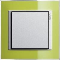 Gira Event Clear. Цвет рамки: Зеленый; Цвет вставки и клавиши: Алюминий
