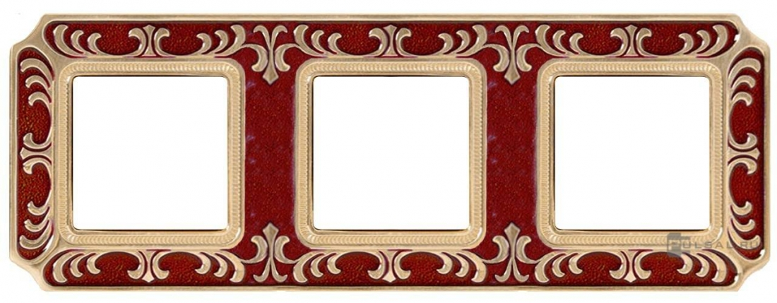 Рамка Siena,  Smalto italiano, 3 поста,  цвет - красный рубин (ruby red), вертикальная,  горизонтальная, металл, FD01353ROEN, FEDE - PULSAL.RU